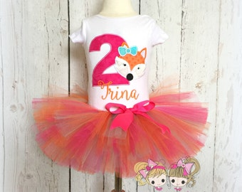 Fox birthday outfit - fox tutu outfit - 1st birthday outfit - woodland creature themed birthday - custom embroidered outfit - fox tutu
