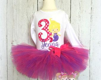 Birthday Mermaid Tutu Set in Pink and Purple- Custom embroidery