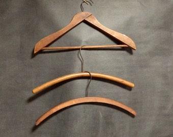 Wooden Hangers - Wood hangers - Set of 3 Vintage Hangers