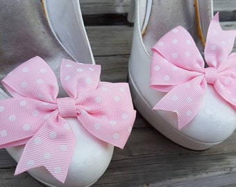 Light Pink Polka Dot Shoe Clips, Bows, Bridal Shoe Clips,Grosgrain Bow Shoe Clips,  Shoe Clips Shoes Bows, Shoe Clips for Wedding Shoes,