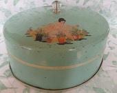 Vintage Cake Saver -- 1930's -- Decal Lady With Flower Pots