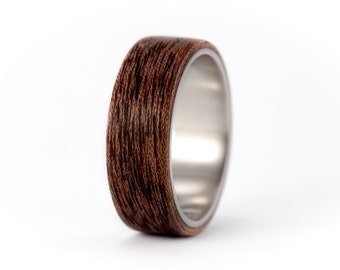 Men's titanium and bentwood ring. Unique wooden wedding band. Water resistant, very durable and hypoallergenic. (00514_7N)
