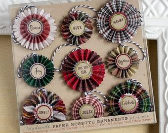 Paper Rosette Ornaments - Christmas Plaid- Christmas Decor - Paper Ornaments -Holiday Decorations - Christmas Ornaments - Typography decor