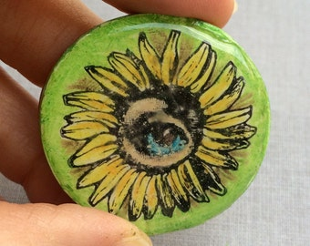 Zetti Flower Eye Handmade Polymer Clay Cabochon Rubber Stamped Resin Art