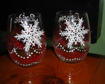 Bride and Groom snow flake stemless wine glasses