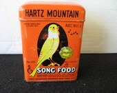 Vintage Hartz Mountain Song Food Bird Tin   Canary graphics
