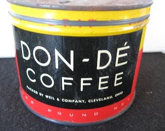 Vintage  1 lb Don-De  Coffee Tin Key  wind opened