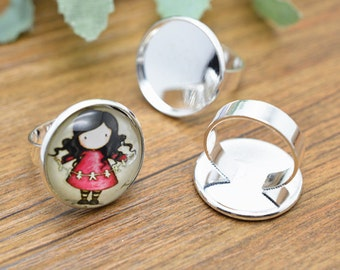 Ring Blanks -10pcs 20mm Silver Plated Brass Adjustable Cabochon Ring Base Setting LB401-6