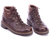 Mountaineering Boots 80s LEATHER Walking Work Boot DISTRESSED Brown Mountain Rugged Sole Survivor Camping Lace Up size US 5.5, Eur 37, Uk 3