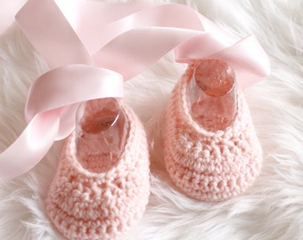 Crocheted Baby Girls Ballet style Shoe Bootie in custom colour sizes  NB to 12M