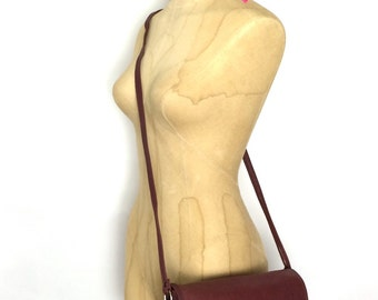 Vintage Soft Wine Leather Small Crossbody  Bag