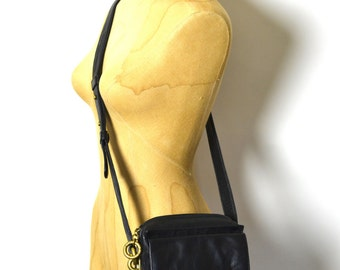 Vintage 90s DKNY Leather Bag - Black Mini Crossbody Purse