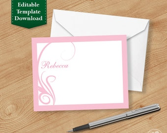 Swirl Thank you Cards,  Printable Thank you Cards, Personalized Thank you Cards
