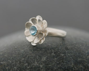 Flower Ring - Blue Topaz Ring - Daisy Ring with Sky Blue Topaz - Silver Daisy Ring - Gift For Her - Made to Order - FREE SHIPPING