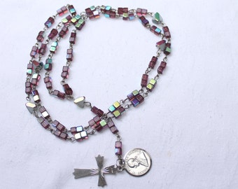 Vintage Aurora Borealis glass Rosary with silver cross  and Pontifex Maximus medal