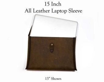15 Inch Leather Laptop Sleeve - Free Inscription