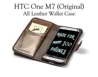 HTC One M7 (original) Leather Wallet Case - No Plastic - Free Inscription