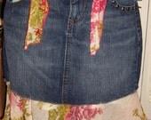 Denim Shirt, Mini Skirt, Boho Skirt, Festival, Romantic,   You choose Length