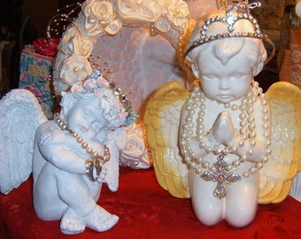 Cherubs, Vintage, Two Cherubs, Altered Cherubs, Embellished Cherubs, Shabby Chic, Cherub, Shabby Chic