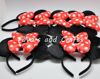 12 PCS Minnie Mouse Ears, Minnie Mouse Pluffy Jumbo RED Bows, Minnie Mouse Ears headband, Minnie Party Favors, Mouse Ears