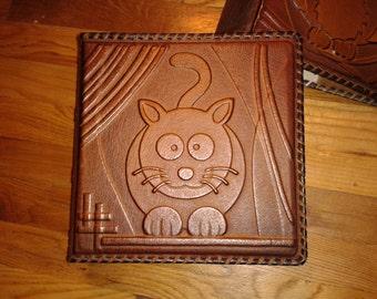 Photo Album -  Kitten Kitty Personalised Kids Handmade Art Leather Gift Present Cover  #15