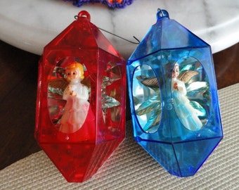C256)  Vintage Diorama Jewel Brite Christmas Ornaments angels red and blue