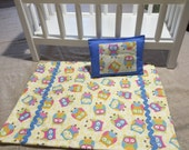 """Owl Pals 18"""" Doll Quilt with matching pillow"""