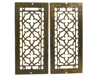 Antique Cast Iron Heating Grates // Pair Matching Victorian Floor Wall Register Vent Grille Covers // Architectural Restoration Home Decor