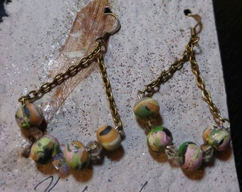 Polymer clay earrings with crystals and chain