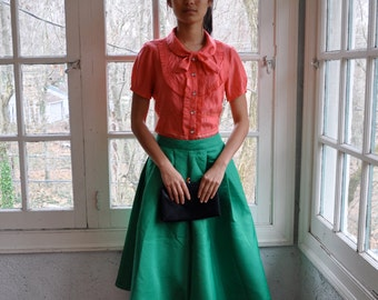 Green Vintage 1950s Circle Swing Skirt/Rockabilly Party Skirt/Swishy Full Evening Skirt/Size Small