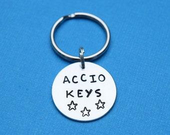 Accio Keys harry potter spell keychain, harry potter keychain, hogwarts keychain
