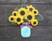 Sunflower Favors / Gifts for Mom / Garden Party Favors / Thinking of You Gifts / Bridal Shower Favors /  Cookie Bouquet - 14 cookies