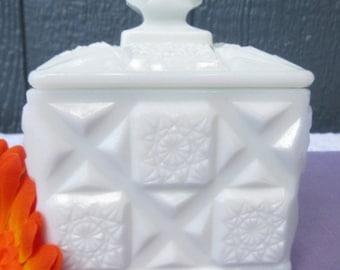 Milk Glass White Candy Dish/ Milk Glass Old Quilt Square Candy Dish/Lidded Cubed Square White Puff Bowl/Puff Jar/Vanity Milk Glass Bowl