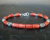 Coral Bracelet - Coral Cylinder Beads, Orange Red Coral, 925 Sterling Bali Silver Bracelet