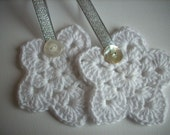 Crochet Christmas star ornaments Set of 2 white with silver