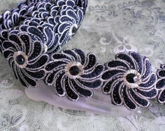 Black Stitched Floral Trim