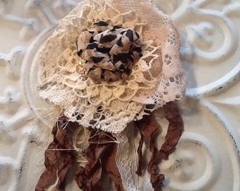 Vintage looking, tattered fabric and lace flower pin/brooch, hair clip