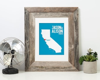 California Wedding Gift - Personalized State and Heart - Custom Wedding Date - Location City and State Modern Art Print - 8x10 San Francisco