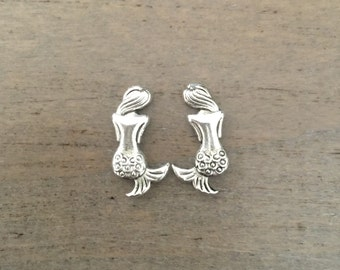 Mermaid stud earrings, Silver stud earrings, mermaid jewelry