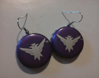 Smirnoff Wild Grape Bottlecap Earrings
