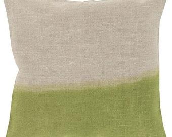 Ombre Pillow, Dip Dyed Pillow, Linen Pillow, Lime Green Pillow Cover, Pillow Sham