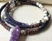 Boho amethyst choker necklace | amethyst cluster, sari silk necklace, collar necklace, amethyst cluster, amethyst druzy, boho necklace