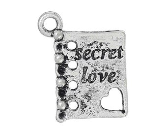 25 Love Charms - Antique Silver - 19x15mm - Holds SS4 Rhinestones - Ships IMMEDIATELY from California - SC1201