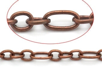 Copper Link Figaro Chains - Antique Copper - 6.5x3.5mm - 4x3.5mm - 32ft (10M) - Ships IMMEDIATELY from California - CH611