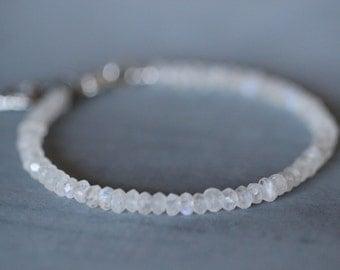 Moonstone Bracelet, 4mm, Gemstone Bracelet, Beaded Bracelet, Sterling Silver, Heart Charm, Layering Bracelet, Beaded Bracelet, White Rainbow