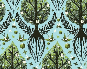 Tula Pink - Timeless Fabrics - The Birds & The Bees - Tree of Life - Pool