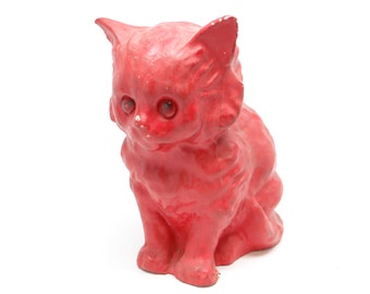 1940's Halloween Cat, Glass Eyes and Pulp Paper Mache Kitten Candy Container