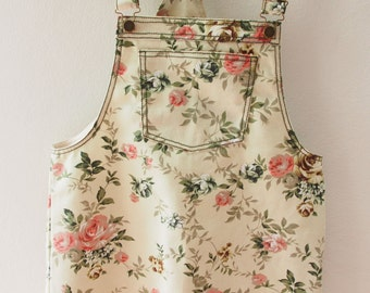 Skirtall, Floral Skirtall, Light Khaki with Pink Rose Overall, Apron Overall skirtall, Vintage Inspired