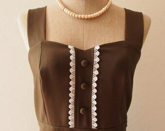 VIENNA - Midi Dress, Dark Olive Green Bridesmaid Dress, Tea Dress, Dark Olive Party Dress Vintage Inspired Dress, Swing Dress-XS-XL,Custom