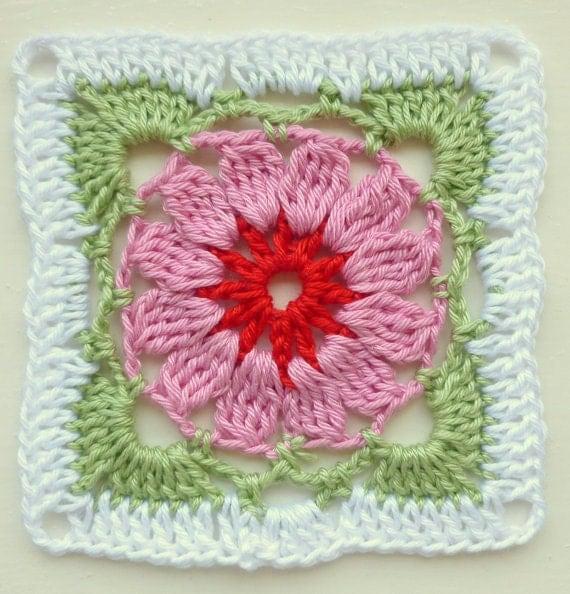 Instant Download Crochet PDF pattern - LD-0101 Floral afghan block